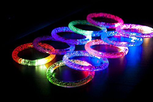 Light-Up Acrylic Bracelet LED Flashing Wristband Glow Blinking Rave Wear (1