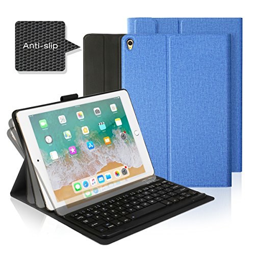 AntArt 10.5 Leather case + Wireless Bluetooth American English ABS Brushed Keyboard for iOS, Android Windows by AntArt