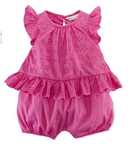 - Ralph Lauren Baby Girls' Eyelet Cotton Shortall (9 Months , Active Pink )