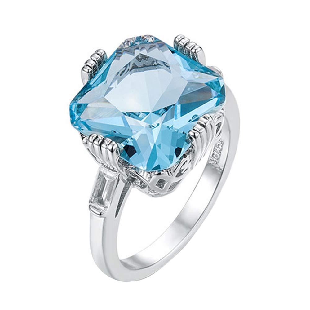 Godagoda Bague Femme Strass Artificielle Bleu Topaze Min/éral Carr/é pour Mariage Cuivre D/écoration Bijoux Fantaisie Num/éro 6-10