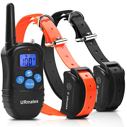 Dog Yard Trainer (Upgrade Dog Training Collar,URmates No Harm Remote Beep/Vibration/Shock E-Collar 100% Waterproof 1000ft Trainer for All Size Dogs (For 2 Dogs))