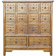Chinese Oriental 14 Drawers Wood Storage Cabinet Acs1931