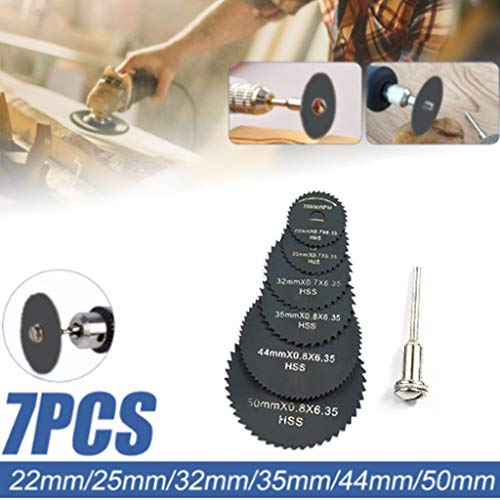 (Hunputa 7PCS Cutting Discs Mandrel HSS Rotary Circular Saw Blades Tool Cutoff Accessory)