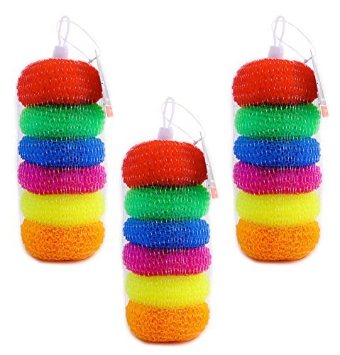 Pack of 18 Assorted Colors Round Plastic Dish Scrubbers, Mesh Scourers