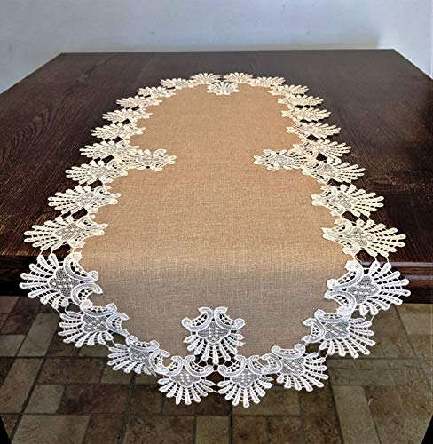 Oval Table Runner in Venetian Lace and Light Brown Burlap Linen Type Material, Size 36 x 16 inches