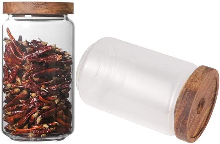 Keledz Glass Storage Jar with Wood Lids, Airtight Sealed Clear Borosilicate Glass Canister Kitchen Food Storage Containers for Coffee Beans Loose Tea Nuts Sugar Candy Spice, 450ml 16 oz (1000ml 35 oz)