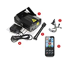 Sumger Remote Control Mini RG Star Laser Stage Lighting Strobe LED Projector Voice-activated Party lights Equipment for DJ Disco Club Party Bar Show Christmas with Truss Hook Clamp & tripod (Black)