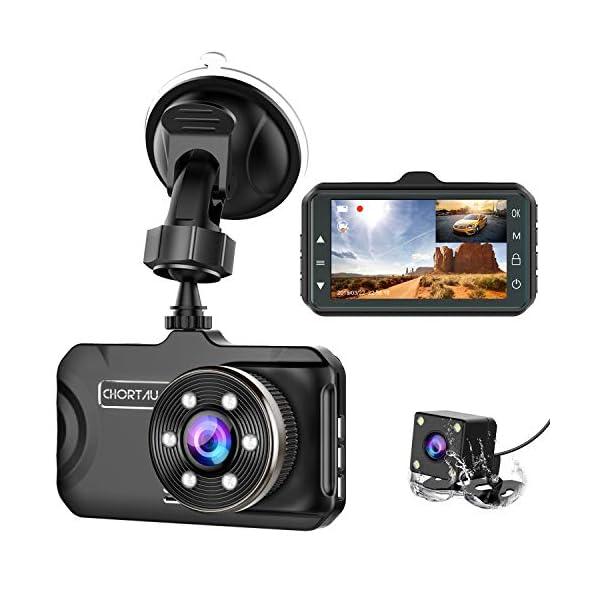 Dash Cam Front and Rear CHORTAU Dual Dash Cam 3 inch Dashboard Camera Full HD 170°...