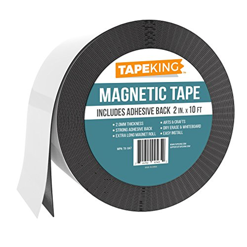 Tape King Flexible Magnetic Tape, Wider 2-Inch x 10 Feet - Thicker and Stronger Adhesive Back Magnet Strip for White Board, Dry Erase, Automotive, Fridge - Black