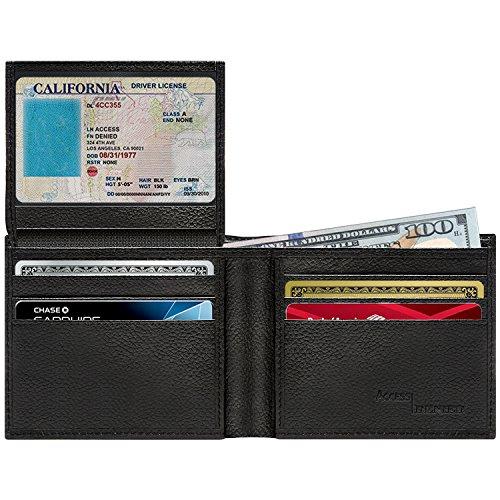 Blocking… Wallet Slotss Up Pebble Window With Mens Id Card Flip Bifold Leather Black Genuine Rfid 6 gZU5wqOZY