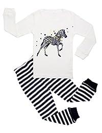 BOOPH Girls Pajamas 2 Piece Giraffe Long Sleeve Pajama Set 100% Cotton Size2T-7T