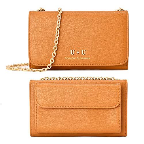 Brown Cellphone Crossbody Shoulder Bag - U+U (2019 Version) RFID Blocking Leather Handbag Wallet Purse with Chain Strap