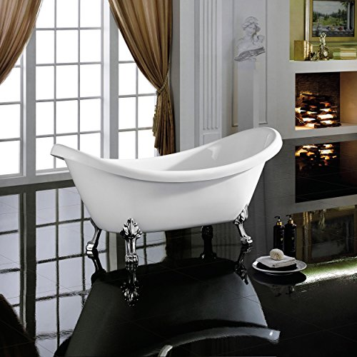 MAYKKE Mona 71 Inches Traditional Oval Acrylic Clawfoot Tub, White Double Slipper Bathtub with Feet in Chrome Finish, 16-9/16 Inches Water Depth, 47 Gallons Water Capacity, XDA1412001 (Acrylic Clawfoot Tub compare prices)