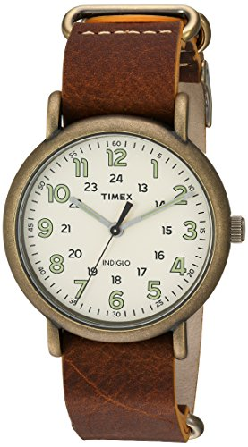 Timex Men's TW2P85700 Weekender 40 Antiqued Brass/Brown Leather Slip-Thru Strap Watch - Watch Brass Wrist Leather