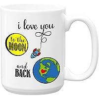 i love you to the moon and back, Large 15 oz Ceramic Coffee Mug