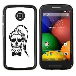 LECELL--Funda protectora / Cubierta / Piel For Motorola Moto E -- Cráneo Cola de caballo Funny Girl Muerte Blanca --