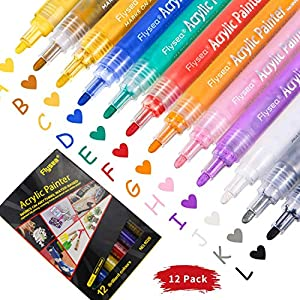 Acrylic Paint Marker Pens 12 Colors Water-Based Quick Dry Acrylic Markers on Anything Non Toxic Waterproof Art Marker Paint Pens for Ceramic Glass Wood Canvas Rocks Painting DIY Craft Art Supplies
