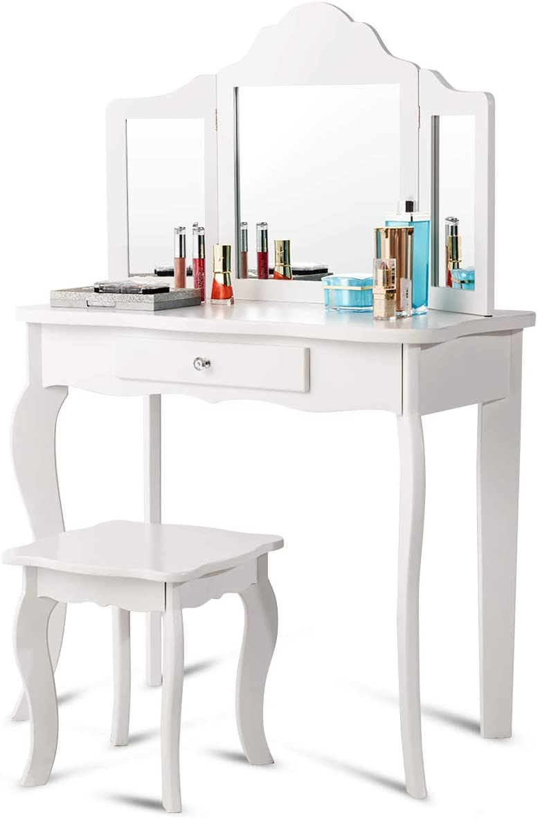 GOFLAME Wooden Vanity Table with Triple Folding Mirror and Stool for Kids, Writing Table with Detachable Top and Large Capacity Drawer, E1 Grade MDF and Solid Wood Material, White