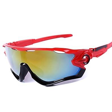 mi ji Gafas de Sol Deportivas Gafas de Ciclismo de Protección UV400 con 5 Lentes Intercambiables para Ciclismo, Béisbol, Pesca, esquí, Golf