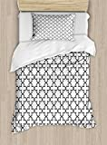 Arabian Duvet Cover Set by Ambesonne, Arabic Art Openwork Pattern in Arabian Style Cultural Monochromatic Art Print, 2 Piece Bedding Set with Pillow Sham, Twin / Twin XL, Charcoal Grey