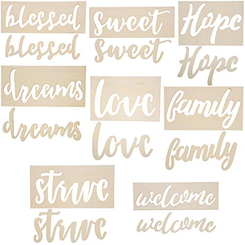 (8-Pack Wood Word Stencil Templates for Crafts, Painting)