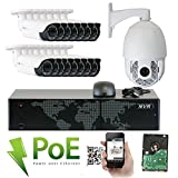 GW Security 16 Channel 5MP HD 1920p H.265 Security System with 8TB HDD, 15 HD 5MP 1920p 2.8-12mm Varifocal Outdoor Indoor PoE IP Cameras, and 1 20X Zoom 4MP 1520p IP PTZ Camera