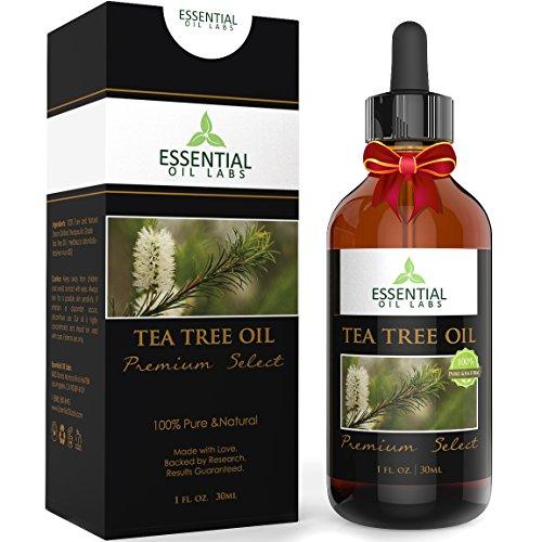 Tea Tree Oil - Therapeutic Grade 45% terpinen-4-ol (Australian) - 1fl oz with Glass Dropper - Premium Select from Essential Oil Labs