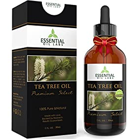 Tea Tree Oil - Therapeutic Grade 45% terpinen-4-ol (Australian) - 1fl oz with Glass Dropper - Premium Select from Essential Oil Labs