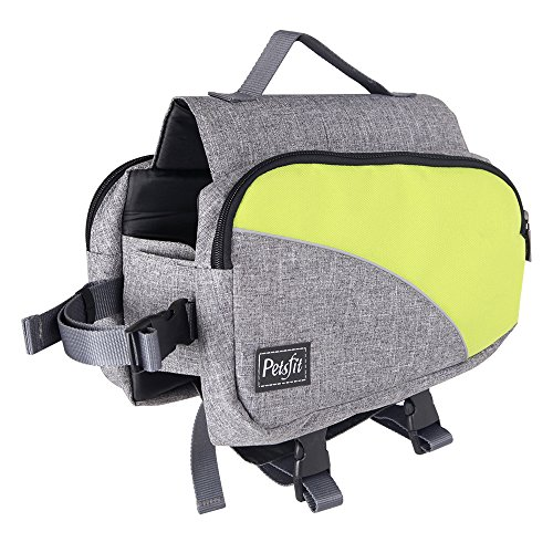 Petsfit Dog Pack Hound Travel Camping Hiking Backpack Saddle Bag Rucksack for Medium & Large Dog