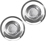 Sink Strainer - Stainless Steel - Set of 2 - Diameter 4.5 Inches - Prevent Clogging - Ideal for Kitchen and Bathroom Sinks - by Utopia Kitchen