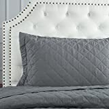 "Bedsure Bed Quilts Solid Grey Bedspread Diamond Pattern Coverlet Full/Queen(86""x96"") 3-Piece Lightweight Hypoallergenic Microfiber ""Dominique"""