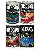 Oregon Specialty Fruit Variety 4 Cans - Blackberries, Red Tart Cherries, Dark Sweet Cherries, and Blueberries