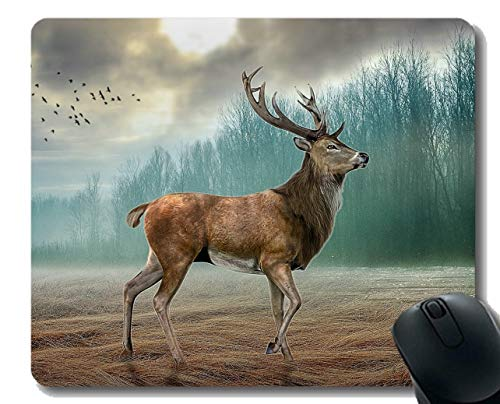 Mass Fog Machine - Mouse Pad with Deer Wood Fog Grass Bird -Stitched Edges