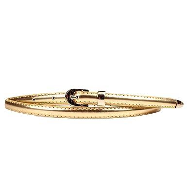 a3ca481ccac739 Lumeidon Damen Mode modisch Schmal Taillengürtel Kleid Leder Gürtel Tyrant  Gold(100CM)