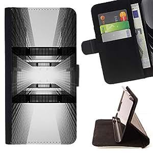 Momo Phone Case / Flip Funda de Cuero Case Cover - Arquitectura Negro White City - Samsung Galaxy Note 5 5th N9200