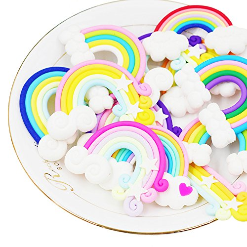 (RayLineDo 12pcs Random Rainbow and Cloud Shape Polymer Clay Embellishmentst Bright Color DIY Cabochon Craf Scrapbook Ornament)