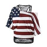CSSD Women Ladies Skew Collar Blouses {American Flag} T-Shirt Pullover Tops Plus Size (2XL, Multicolor)