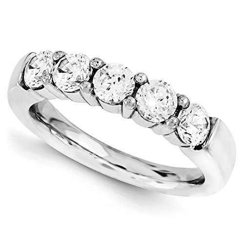1 1/4 CT 14k White Gold Round 5 Stone Diamond Band 1.25 (Round Five Stone Diamond Band)