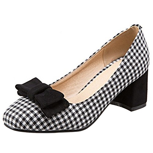 COOLCEPT Mujer Dulce Colegio Tacon Medio Ancho Court Bombas Zapatoas con Bowknot Negro