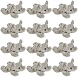 Wildlife Tree 3.5 Inch Elephant Mini Small Stuffed Animals Bulk Bundle of Zoo Animal Toys or Jungle Safari Party Favors for Kids Pack of 12