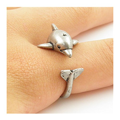 Antique Silver Plated Tiny Cute Dolphin Animal Wrap Unique Adjustable Ring Jewelry Gift for Women and (Wrap Around Dolphin)