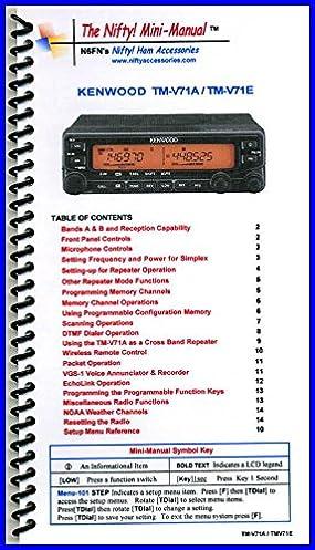 kenwood tm v71a e mini manual by nifty accessories amazon com books rh amazon com Kenwood TM D700 Kenwood TM D700