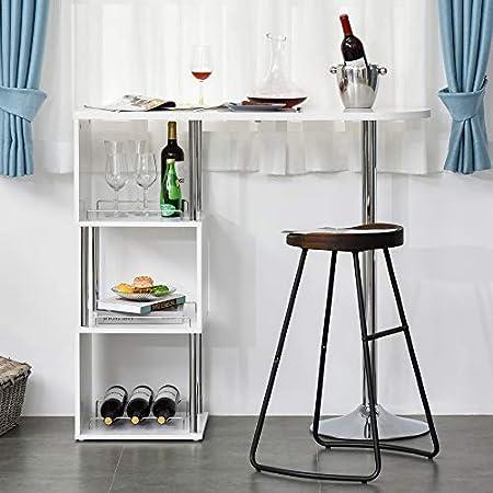 HOMCOM Mesa de Bar Mesa Bistró de Comedor con 3 Estantes y Botellero para Vino Mesa Moderna y Elegante Metal Antivuelco 113x40x105 cm Blanco