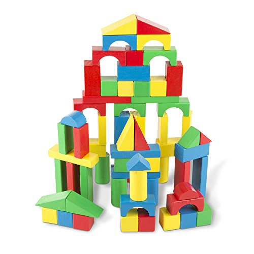 Melissa & Doug Wooden Building Blocks Set - 100 Blocks in 4 Colors and 9 (Infant 3 D Puzzle)