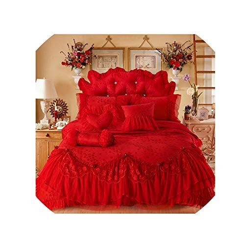 (100% Cotton Bedlinen Wedding Bedding Sets Queen King Double Size Jacquard Duvet Cover Pillowcase Bedskirt Bedspread,3,Queen Size B 4Pcs)