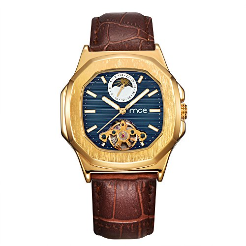 Skeleton Mens Automatic Mechanical Mens Wrist Watch - ManChDa Brown Genuine Leather Moon Sun Phase Blue Dial by ManChDa