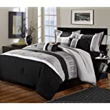 Chic Home 8-Piece Euphoria Embroidered Comforter Set, King, Black/White