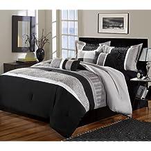Chic Home 8-Piece Euphoria Embroidered Comforter Set, Queen, Black/White