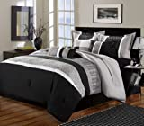 King Bed Comforter Sets for Sale Chic Home Euphoria 8-Piece Embroidered Comforter Set Embroidery Pintuck Bedding with Bed Skirt and Decorative Pillows Shams, King Black White