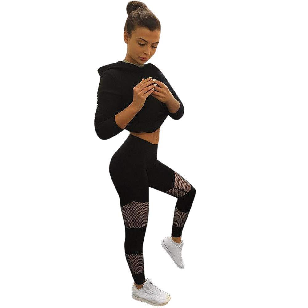 ✅Zalanala Stitching Fishnet Yoga Pants Running Sports Women Leggings Gym Clothing Fitness Tight